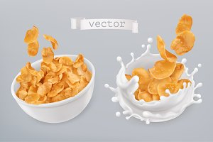 Corn flakes, milk splashes. Vector