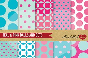 Teal & Pink Digital Backgrounds