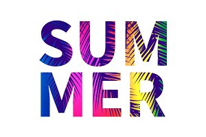 Summer poster with colorful letters