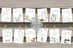 Calendar 2018 with cute animal 3#
