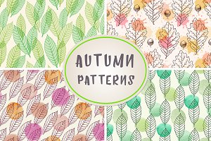 Autumn patterns with leaves
