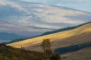 Mount landscape - view of highland in Scotland, autumn