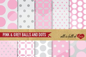 Dotted Scrapbook Pink Grey Patterns