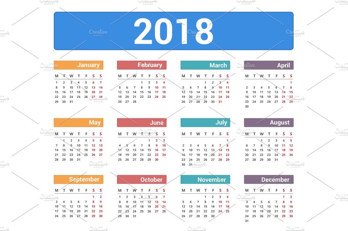 simple template for printing modern calendar 2018 in spanish week