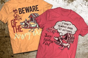 Angry Dog T-shirts And Poster Labels