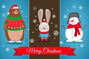 Christmas. hare, bear, snowman