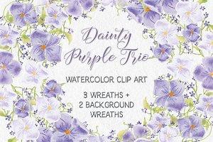 Dainty purple trio: wreaths