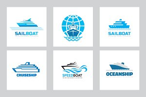 Spead Boat Ship Vector Logo Set
