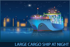 Large Cargo Ship at Night