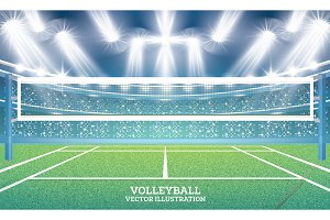Volleyball Court with Spotlights.