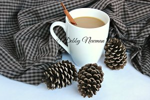 Cup of Coffee, pinecones & plaid