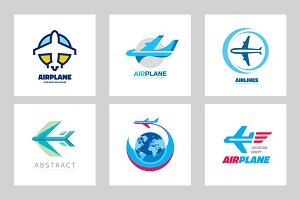 airplane aircraft vector logo set logo templates creative market
