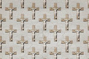 Jesuschrist on Cross Motif Seamless Pattern