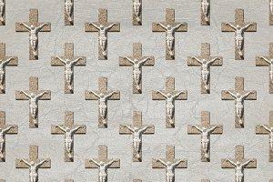 Jesuschrist on Cross Motif Seamless Pattern