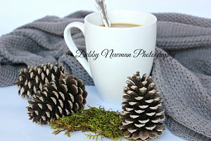 Cup of Coffee, pinecones & sweater