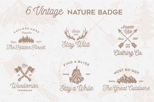 6 Vintage Nature Badges
