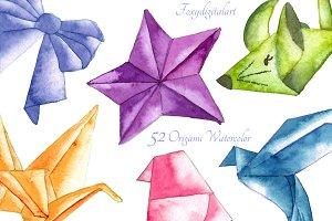 Watercolor origami clipart
