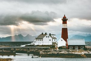 Norway Landscape Tranoy Lighthouse