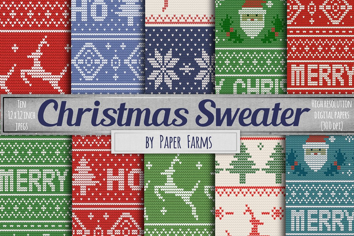 Christmas Sweater Pattern.Ugly Sweater Digital Paper