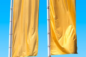 Two empty vertical banners