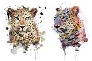 Watercolor Leopard-Animal Print