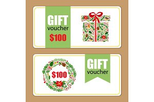 Beautiful gift voucher templates with hand drawn Christmas and New Year elements