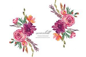 Marsala and Orange Flowers Clip Art