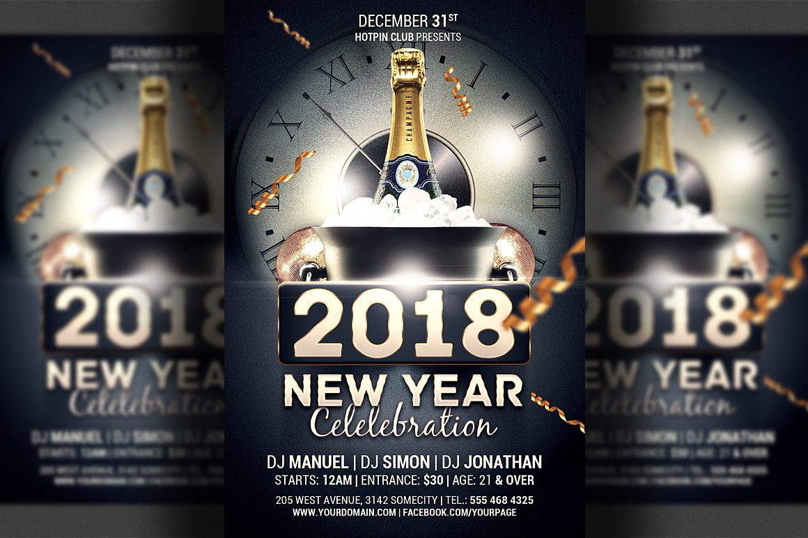 new year celebration flyer template flyer templates creative market