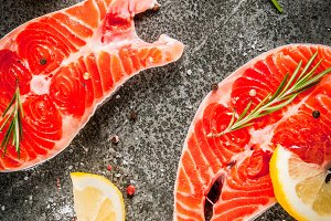 Raw fresh salmon fish