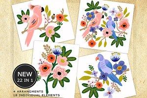 Blossom Romantic Love Birds