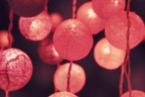 Pink light cotton balls
