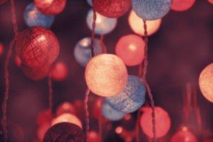 Blurry colorful light cotton balls