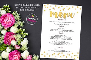 Gold Confetti Editable Wedding Menu