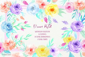 Watercolor Clipart Dream Pastel
