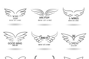 Hand drawn wings logo set