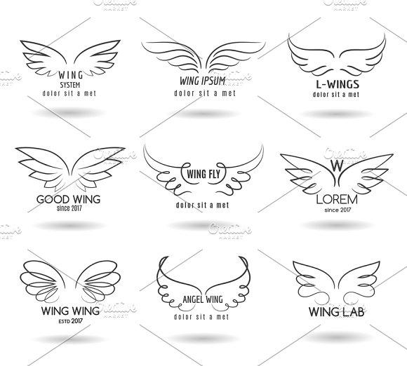 Hand drawn wings logo set