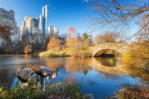 Central park at autumn morning