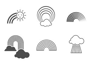 Black and white rainbow icons