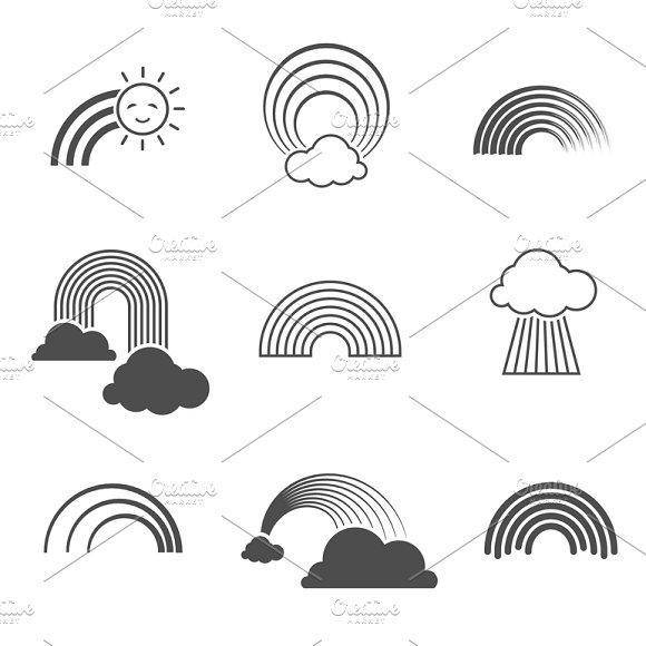 Black and white rainbow icons