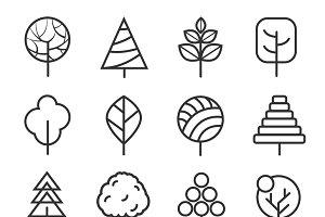Simple contour lines trees
