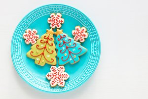Christmas homemade snowflake cookies