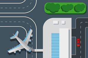 Airport top view vector illustration