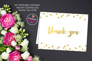Gold Confetti Thank You Note