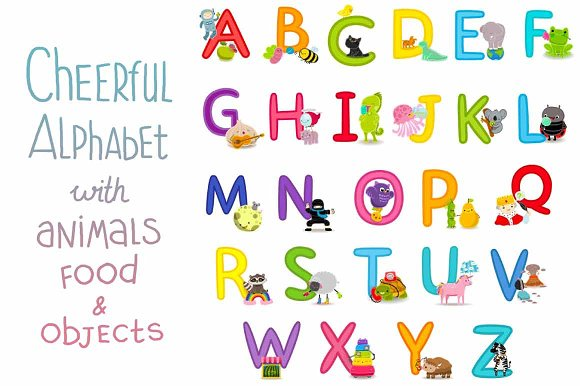 Cheerful alphabet (animals&food) in Objects