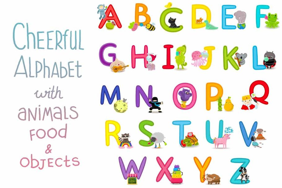Cheerful alphabet (animals&food) in Objects - product preview 8