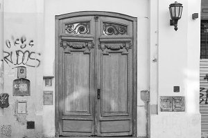 Vintage Door with Graffiti