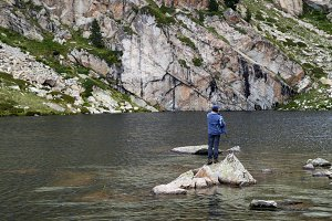 Man fishing in the nature