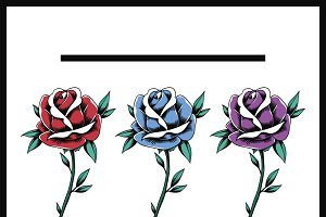 Red Blues Purple Rose Flowers vector