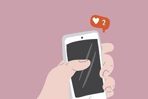 Liking Social Media vector