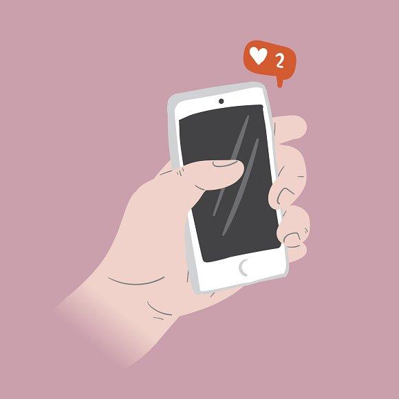 Liking Social Media vector in Illustrations